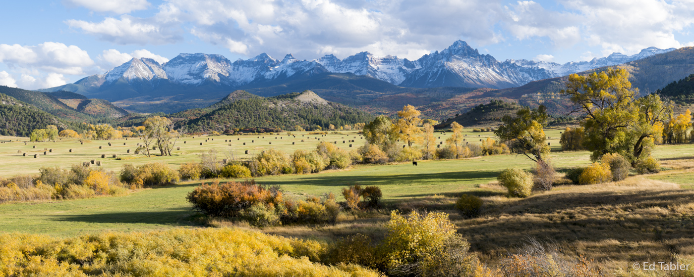 A panorama of the very picturesque ranch at Dallas Divide one fine fall evening.