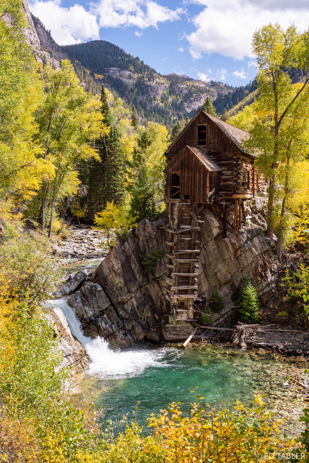 Crystal Mill, or the Old Mill, is an 1892 wooden powerhouse located on an outcrop above the Crystal River near Crystal, Colorado...